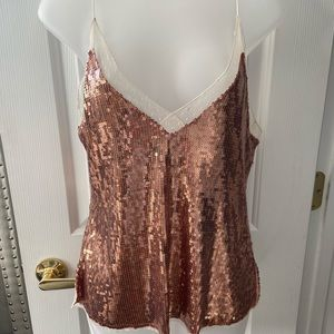 FREE PEOPLE Rose gold shimmer top